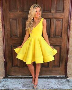 short ball gowns dress, v neck homecoming dress,swing party dress,cute dress,chic prom dress