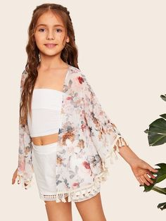 Check out this Girls Open Front Tassel Trim Floral Print Kimono on Shein and explore more to meet your fashion needs! Girls Fashion Clothes, Kids Outfits Girls, Cute Girl Outfits, Tween Fashion, Cute Outfits For Kids, Teen Fashion Outfits, Cute Summer Outfits, Cute Casual Outfits, Girls Dresses