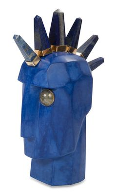 KELLY WEARSTLER | HEAD TRIP BYRON. Super luxe one-of-a-kind sculpture features lapis and bronze spikes and a hand-carved pyrite eye bezel set in 18k gold