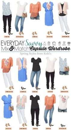 Here is a fun Kohls spring capsule wardrobe. These pieces mix and match to make 15 complete outfits including shoes and accessories. Kohls Outfits, Cute Outfits, Matching Outfits, Minimalist Wardrobe, Minimalist Fashion, Fashion Moda, Fashion Trends, Men Fashion, Fashion Hats