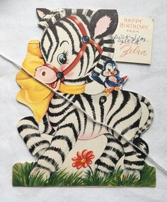 Vintage 1950s Birthday Greeting Card Adorable Zebra | eBay Christmas Greeting Cards, Birthday Greeting Cards, Christmas Greetings, Birthday Greetings, Birthday Wishes, 1950s Christmas, Vintage Christmas, Bubble Balloons, Present Wrapping