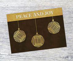 Holiday Greeting Card Peace And Joy diy printable by VizualStorm