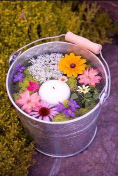 Candle flower bucket centerpiece or isle piece