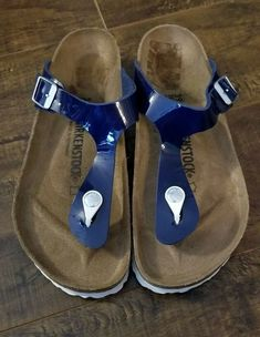 2d7a4d324d57 Birkenstock Gizeh Navy Thong Sandals Womens Size 39 EU 8 US  fashion   clothing