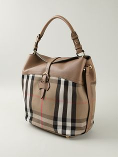 Beige cotton and leather 'House Check' tote from Burberry
