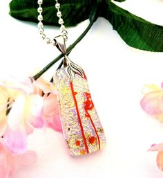 Fused Glass Gold Dichroic Pendant Necklace by Mtbaldyglassworks
