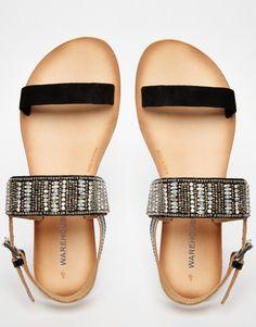 Image 3 ofWarehouse Smart Embellished Flat Sandals