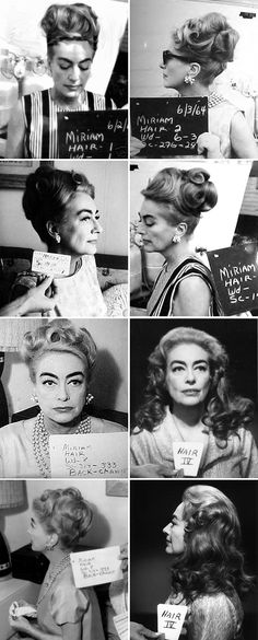 Following the unexpected box-office success of What Ever Happened to Baby Jane? (1962), director Robert Aldrich wanted to reunite stars Joan Crawford and Bette Davis in Hush… Hush, Sweet Charlotte (1964). Crawford quit after working a week in Baton Rogue and four days in Hollywood. She was replaced in the role of 'Miriam Deering' by Oliva de Havilland. Here are hair tests for Crawford in the film.