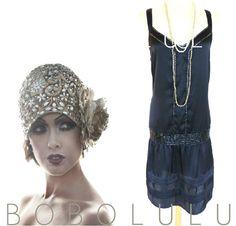 VTG 20s Style DRESS Gatsby FLAPPER Charleston ART DECO Black Bottom MOLL 16 NWT