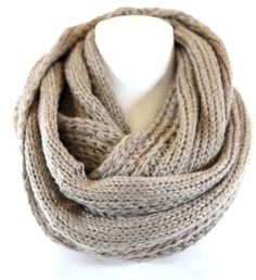 B89 Shimmery Metallic Mocha Beige Cable Knit Chunky Infinity Scarf Boutique