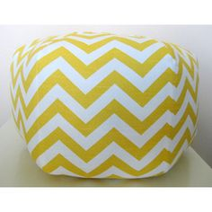 "18"" Ottoman Pouf Floor Pillow Yellow Chevron  Price:$75.00  Everything // learn how to make!!!"