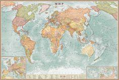 Карты.ру - Магазин карт. Купить карту мира, России или Москвы в нашем интернет-магазине. Изготовление карт. Политические и физические карты. Самые свежие карты - купить. || Мир политический (большой). Аквамарин