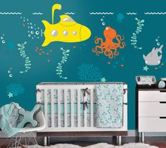 Submarine Wall Decal with Ocean Animals Under by InAnInstantArt