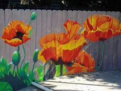 Garden Fence Art, Garden Mural, Backyard Fences, Graffiti Kunst, Flower Mural, Patio Wall, Wood Patio, Diy Patio, Walled Garden