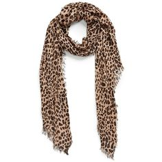 Women's Sole Society Leopard Print Scarf (€28) ❤ liked on Polyvore featuring accessories, scarves, brown, brown scarves, brown shawl, fringe shawl, leopard shawl and sole society