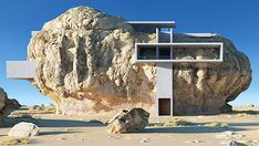 Unrealistic architecture: a house inside a cliff- The concept of a modernist concrete house embedded in a giant rock emerged as a modern take on the architecture of the Madain Saleh necropolis, a UNESCO World Heritage Site in Saudi Arabia. Architecture Design, Conceptual Architecture, Organic Architecture, Movement Architecture, Pavilion Architecture, Residential Architecture, Contemporary Architecture, Landscape Architecture, Frank Lloyd Wright