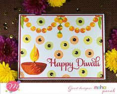 I am Varshitha here with a Guest Designer - Neha Parab. Neha is a software professional living in US and I should tell he. Diwali Cards, Diwali Greeting Cards, Diwali Greetings, Diwali Diy, Happy Diwali, Class Board Decoration, Diy And Crafts, Crafts For Kids, Banner Design Inspiration