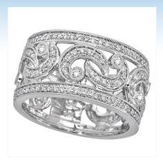 wide band rings women | Diamond Engagement Rings: 18k White gold and diamond women's band