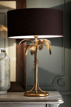 Exclusive Gold Leaf Italian Table Lamp at Juliettes Interiors. Italian Table, Tiki Room, 3d Prints, Fabric Shades, Lamp Design, Luxury Furniture, Lamp Light, Interior Styling, Floor Lamp