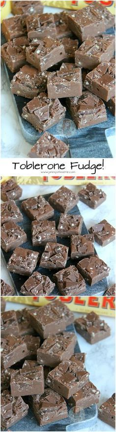 Sweet, Easy, DELICIOUS Toblerone Fudge to end all Toblerone Cravings. Nutty, No-Bake, Delectable treat for everyone! (no bake cake fudge brownies) Fudge Recipes, Candy Recipes, Baking Recipes, Sweet Recipes, Dessert Recipes, No Bake Recipes, Homemade Fudge, Homemade Sweets, Homemade Candies