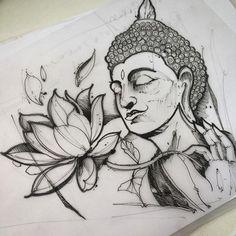 Tattoo Design Drawings, Art Drawings Sketches Simple, Tattoo Sketches, Buddha Tattoo Design, Buddha Tattoos, Buddha Drawing, Buddha Art, Tatoo Manga, Flower Art Drawing
