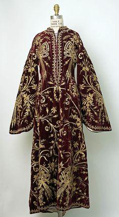 Festive woman's dress ('bindallı entari').  Late-Ottoman, urban, mid- 19th century. Embroidery technique: 'sarma' / 'Maraş işi', on velvet.