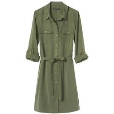 Banana Republic Factory Roll Sleeve Shirtdress ($40) ❤ liked on Polyvore featuring dresses, sleeve shirt dress, button front shirt dress, utility dress, tie waist shirt dress and button front dress