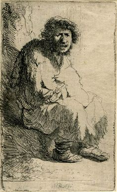 Rembrandt van Rijn, Beggar Seated on a Bank, 1630.  116 x 70 mm. The Morgan Library & Museum