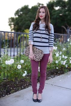 stripes, leopard, and purple jeans with a red lip