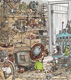 © Sven Nordqvist illustrations for Pettson & Findus Children's Book Illustration, Botanical Illustration, Nordic Art, Illustrations And Posters, S Pic, Cat Art, Childrens Books, Vintage World Maps, Fairy Tales
