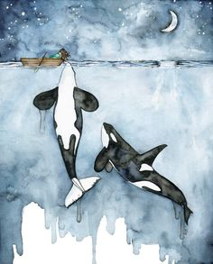 "Watercolor Orca and Girl Painting - Print titled, ""Poseidon's Touch"", Orca Whale, Beach Decor, Whale Nursery, Whale Art, Whale Print, Orcas by TheColorfulCatStudio on Etsy https://www.etsy.com/listing/398685619/watercolor-orca-and-girl-painting-print"
