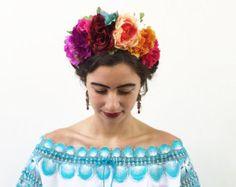 Day of the Dead Headpiece Frida Headpiece Mexican Flower | Etsy Frida Kahlo Costume, Mexican Flowers, Diy Crown, Pink Rose Flower, Flower Headpiece, Floral Headdress, Floral Headbands, 20s Headband, Crown Headband