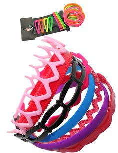 Hair Accessories Set: Assorted Plastic Head Bands / Hair Bands, Elastic Ponytail Holders, Metal Snap Clips and Bobby Pins - Multicolor ** You can get additional details at the image link.