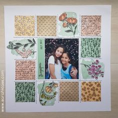 Scrapbooking page layout idea. Great idea for baby book: cut scraps from receiving blankets to make a patchwork page! Birthday Scrapbook, Baby Scrapbook, Scrapbook Cards, Anniversary Scrapbook, Scrapbook Albums, Scrapbook Sketches, Scrapbook Page Layouts, Scrapbooking Digital, Recipe Scrapbook