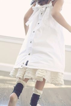 Sundress in white, upcycled from a mens Oxford cloth shirt,buttons down the back. Such a cool idea!