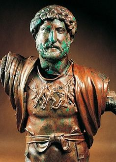"Portrait bust of Hadrian as general, from Tel Shalem,  Israel, ca. A.D. 130–138. Bronze, approx. 2' 11"" high. Israel Museum, Jerusalem."