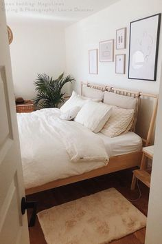 Turn your bedroom into a calming oasis with white linen sheets that will never go out of style. Bedroom styled by Laurie Douceur.