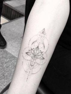 Tattoo Geometric Flower Dr Woo 19 New Ideas Dot Tattoos, Dot Work Tattoo, Line Tattoos, Trendy Tattoos, Forearm Tattoos, Sexy Tattoos, Back Tattoo, Flower Tattoos, Small Tattoos