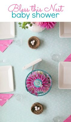 Easiest way to decorate for a baby shower with this adorable 'Bless this Nest' theme!