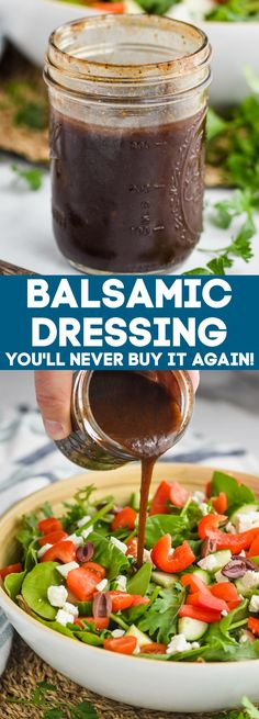 This Balsamic Dressing is a simple and easy recipe, that anyone can make at home! Slightly sweet and deliciously tangy, you will fall in love with this recipe. Winter Salad Recipes, Side Salad Recipes, Salad Dressing Recipes, Entree Recipes, Bacon Recipes, Raw Food Recipes, Cooking Recipes, Healthy Recipes, Salad Dressings