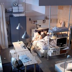 Ikea Bedroom Design and Decorating Ideas 2011 Workspace in Small Bedroom Design and Decorating Ideas for Apartment 2011 by IKEA – Home Designs and Pictures Ikea Studio Apartment, Small Apartment Bedrooms, Apartment Interior, Apartment Design, Small Apartments, Apartment Living, Studio Apartments, Apartment Ideas, Living Room