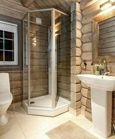 ideas for bathroom remodel rustic cabin Small Shower Remodel, Bathtub Remodel, Cabin Homes, Log Homes, Mountain Home Exterior, Sauna Design, Log Home Interiors, Cabin Bathrooms, Rustic Home Design