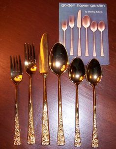 Stanley Roberts gold plated flatware, Golden Flower Garden pattern