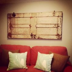 Old door decor in our kitchen seating area. #DavenportRanch