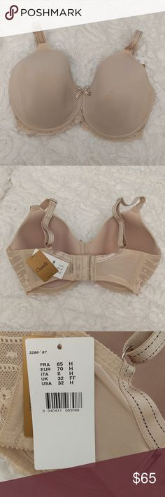 NWT Chantelle 32 H nude lace bra New with tags, molded cup bra. Great support, I love Chantelle bras, this one is just not my size. Chantelle Intimates & Sleepwear Bras