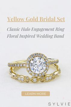 Engagement Rings: This gorgeous halo engagement ring includes a 1 carat, round, brilliant diamond with a single halo of sparkling diamonds. The band features a train down both sides of shimmering, round-cut diamonds, making the total weight of this stunning engagement ring come to 0.32 carats. Wedding Bands: This stunning yellow gold flower stackable band features 0.13 carats of shimmering diamonds in alternating marquise and delicate flower petal shaped settings surrounded by milgrain beading. 1 Carat Engagement Rings, Floral Engagement Ring, Perfect Engagement Ring, Engagement Ring Styles, Designer Engagement Rings, Diamond Bands, Diamond Wedding Bands, Thing 1, Matching Wedding Bands