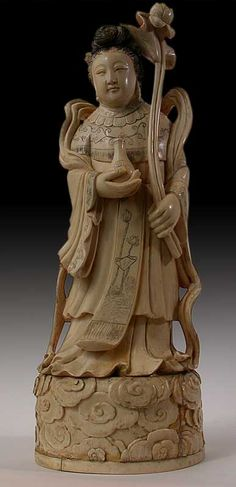 Large Antique Chinese Carved Taoist Immortal Ivory Carving
