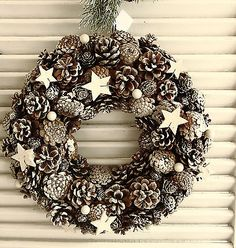 Inspired by the winter woods, this glittering wreath mixes faux greenery, pinecones, and berries.- Polyfoam, pinecones- Indoor use only- Christmas Tree Farm, Christmas Music, Christmas Love, Xmas Tree, Christmas Crafts, Christmas Decorations, Christmas Ornaments, Holiday Decor, Xmax
