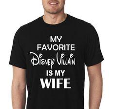 My Favorite Disney Villian Is My Wife Men's Disney Crew by DesignITSouth | Etsy