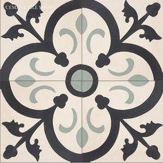 Orleans Charcoal - stencil pattern for kitchen backsplash Painting Tile Floors, Encaustic Tile, Cement Crafts, House Tiles, Batik, Stained Glass Designs, Bathroom Floor Tiles, Brick And Stone, Stone Flooring